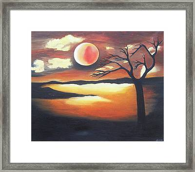 Sunset - Oil Painting Framed Print by Rejeena Niaz
