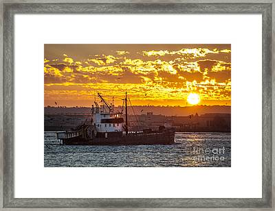 Sunset And Boat On San Diego Bay Framed Print