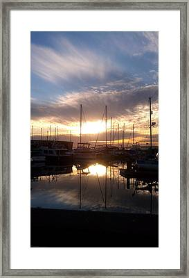Sunset And Boats Framed Print by Jerry Cahill