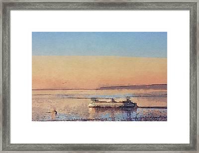 Sunset And Ferry Framed Print by Arthur Kuntz