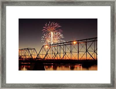 Sunset And Fireworks Framed Print