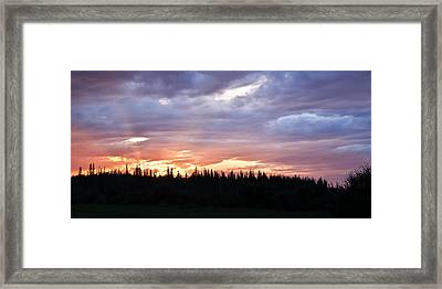 Sunset And Sun Rays Framed Print
