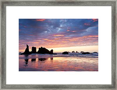 Sunset At Bandon Beach Framed Print