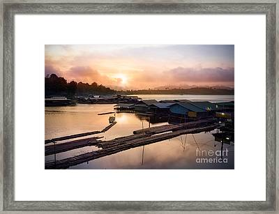 Sunset At Fisherman Villages  Framed Print by Setsiri Silapasuwanchai