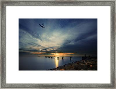 Sunset At Hong Kong Airport China Framed Print