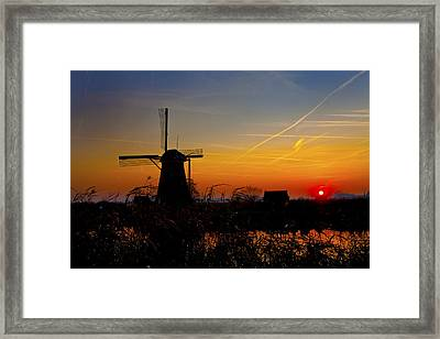 Sunset At Kinderdik Framed Print