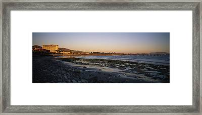 Sunset At Low Tide On Ventura Beach Framed Print by Rich Reid