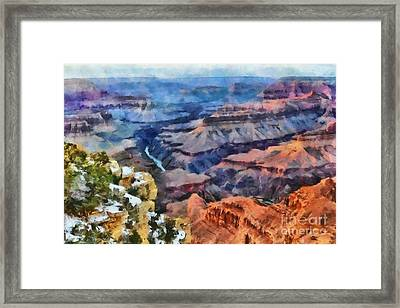 Sunset At Mohave Point At The Grand Canyon Framed Print by Mary Warner