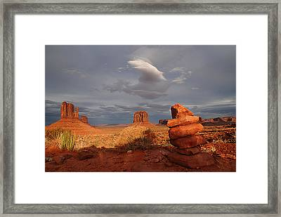 Sunset At Monument Valley Framed Print