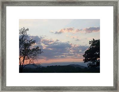 Framed Print featuring the photograph Sunset At Oak Hill Farm by Elizabeth Coats