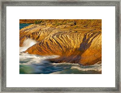 Sunset At Pictured Rocks Framed Print by Cindy Lindow