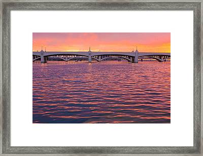 Sunset At Tempe Town Lake Framed Print by Tony Marinella