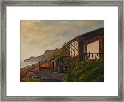 Framed Print featuring the painting Sunset At The Beach House by Terry Taylor