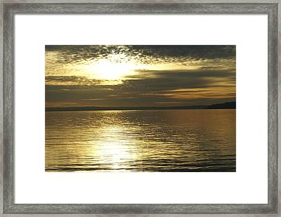 Sunset At The Harbor Framed Print by Jerry Cahill