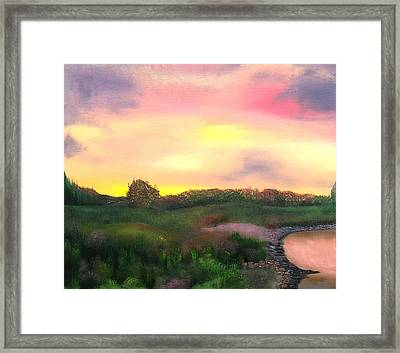 Sunset At The Lake Framed Print by Amity Traylor