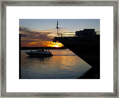Sunset At The Shore Framed Print by Barbara Middleton