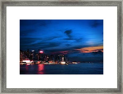 Sunset At Victoria Harbour Framed Print