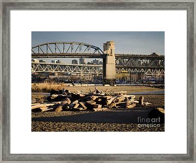 Sunset Beach Burrard Bridge Granville Island Vancouver Bc Canada Framed Print