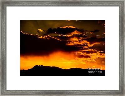 Sunset Behind Horsetooth Rock Framed Print by Harry Strharsky