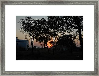Sunset Behind Trees Framed Print by Johnson Moya
