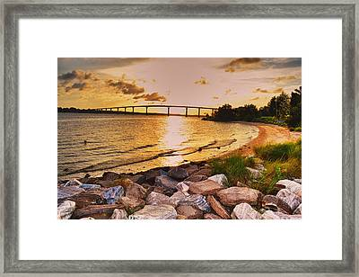 Framed Print featuring the photograph Sunset Bridge by Kelly Reber