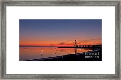 Sunset By Bridge Framed Print