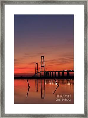 Sunset By The Bridge Framed Print