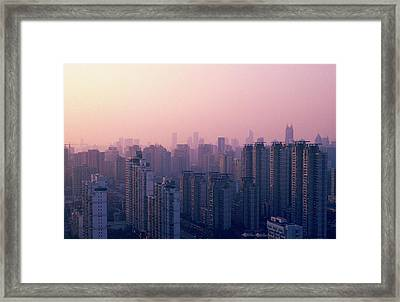 Sunset City Pink Framed Print by Min Wei Photography