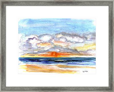 Framed Print featuring the painting Sunset Clouds by Clara Sue Beym