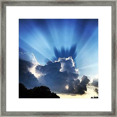 #sunset #clouds #weather #rays #light Framed Print