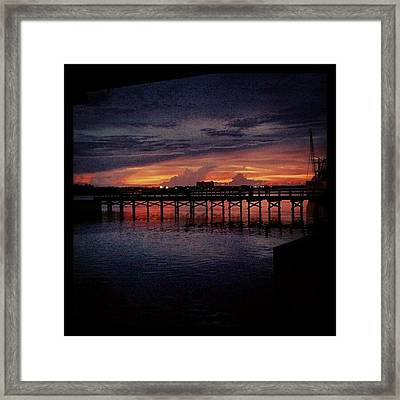 #sunset #dock #awesome #doubletap Framed Print