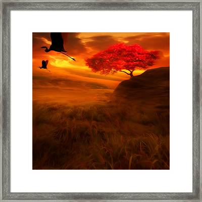 Sunset Duet Framed Print by Lourry Legarde