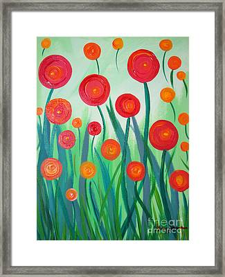 Sunset Flowers Framed Print