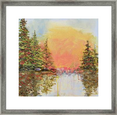 Framed Print featuring the painting Sunset Horizon by Vic  Mastis