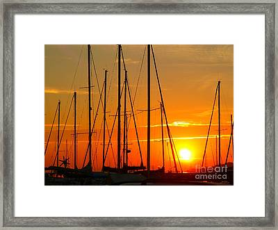 Sunset In A Harbour Digital Photo Painting Framed Print