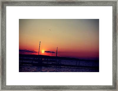 Sunset In Lake Mendota Framed Print by Xiaoting Kuang