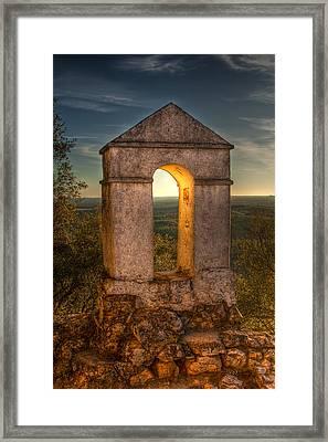 Sunset In Monfrague Castle Framed Print by Gabor Pozsgai