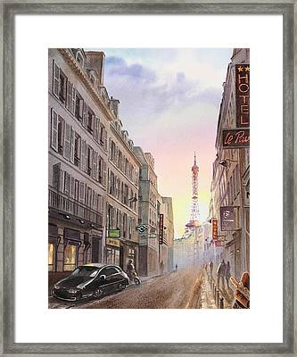 Sunset In Paris Framed Print by Irina Sztukowski