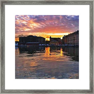 #sunset In #stockholm #2005 Framed Print