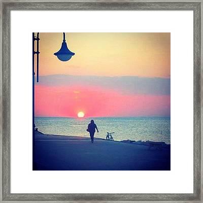 Sunset In Torregaveta Napoli Framed Print