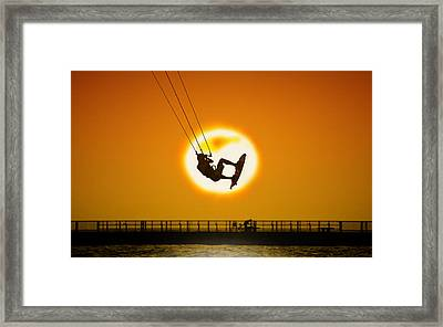 Sunset Kite Boarder Framed Print by Moments In 3 X 4