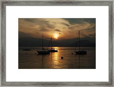 Sunset Lake Maggiore Framed Print by Joana Kruse