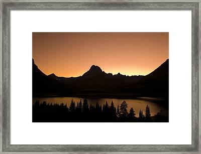 Sunset Swift Current Lake Glacier National Park Framed Print by Rich Franco
