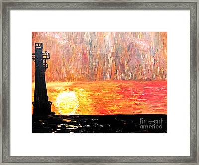 Framed Print featuring the painting Sunset Lighthouse by Ayasha Loya