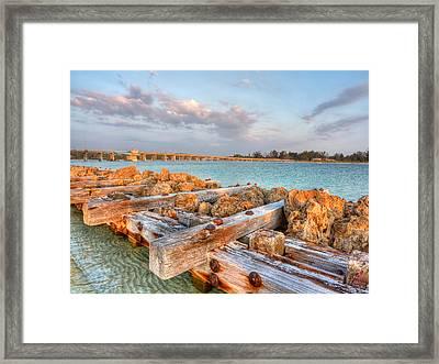 Sunset Longboat Pass Bridge  Framed Print by Jenny Ellen Photography