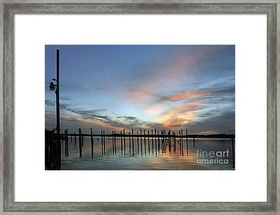 Framed Print featuring the photograph sunset marina Everglades by Dan Friend