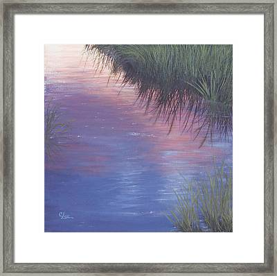 Framed Print featuring the painting Sunset Marsh by Cindy Lee Longhini