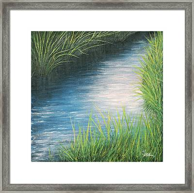 Framed Print featuring the painting Sunset Marsh Series Afternoon by Cindy Lee Longhini