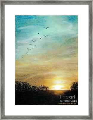 Sunset Framed Print by Muna Abdurrahman