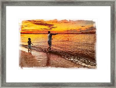 Sunset Netcasting Framed Print by Debra and Dave Vanderlaan